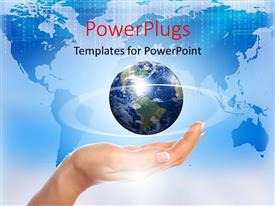 PowerPlugs: PowerPoint template with a hand with a globe and map in the background