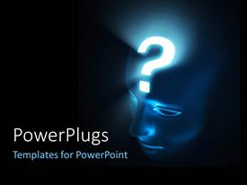 PowerPlugs: PowerPoint template with human head with brightly glowing question mark on forehead