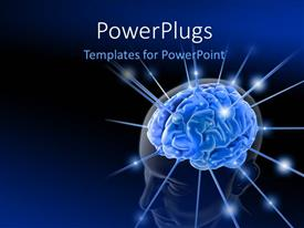 PowerPlugs: PowerPoint template with human head with highlighted brain is  is being energized through the strings, the concept of intelligence