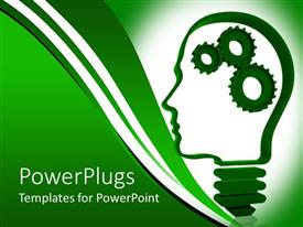 PowerPlugs: PowerPoint template with human head light bulb with mechanical gears inside representing the brain on green background