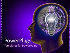 PowerPoint template displaying human head outline with turning gears and idea light bulb