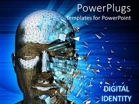 PowerPlugs: PowerPoint template with human head scanning retina for identity and binary numbers in background