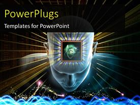 PowerPlugs: PowerPoint template with human head scientific formulas and various abstract elements on the subject of artificial intelligence