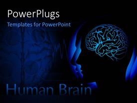 PowerPoint template displaying human head with visible brain over dark background
