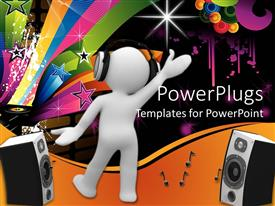 PowerPlugs: PowerPoint template with human with headphones dancing with speakers, records, colorful shapes