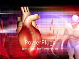 PowerPoint template displaying a human heart with a dummy and a wave line