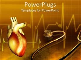 PowerPlugs: PowerPoint template with human heart with a stethoscope on a brown colored background