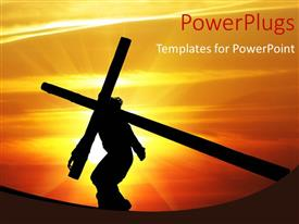 PowerPlugs: PowerPoint template with human holding the crucifix against sunset