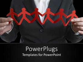 PowerPlugs: PowerPoint template with a human holding an orange colored paper cut of people