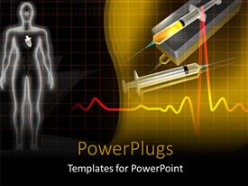 PowerPlugs: PowerPoint template with a human image and two syringes on a yellow background