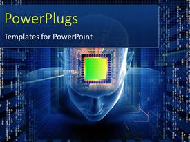 PowerPoint template displaying a human mind with a chip and bluish background