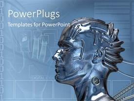 PowerPlugs: PowerPoint template with a human model with a number of hand prints in the background
