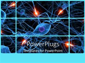 PowerPoint template displaying human nerve cells showing passive ones and active ones glowing