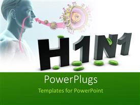 PowerPlugs: PowerPoint template with human with New h1n1 influenza virus over white background