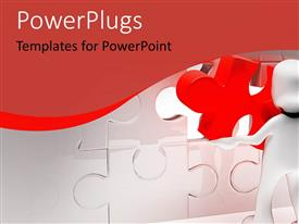 PowerPlugs: PowerPoint template with human putting together puzzle with red and white pieces, metaphor, problem solving