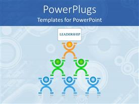 PowerPlugs: PowerPoint template with human pyramid leadership teamwork planning communication collaboration blue background