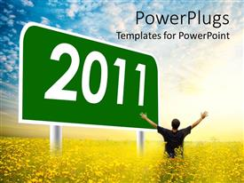 PowerPoint template displaying human raising his hands with a large 2011 text on a green billboard