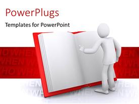 PowerPlugs: PowerPoint template with human reading interesting information from a big red book with keywords such as what, when, how in background