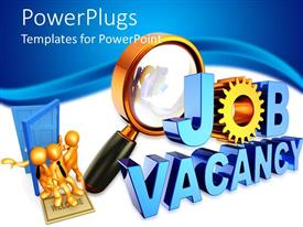 PowerPlugs: PowerPoint template with human resources hiring theme with magnifying glass, job vacancy, workers coming in blue door, HR, employee retention