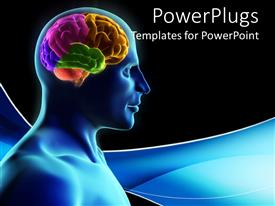 PowerPoint template displaying human silhouette with parts of the brain in color on blue wave and black background