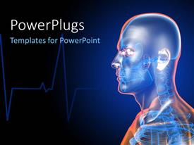 PowerPlugs: PowerPoint template with scan showing human skeletal system with cardiogram pulse in background