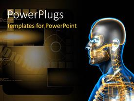 PowerPlugs: PowerPoint template with a human skeleton with a brownish background