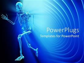 PowerPlugs: PowerPoint template with a human skeletal system on a blue colored background