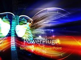 PowerPlugs: PowerPoint template with human skeletal system on a yellow and blue colorful background