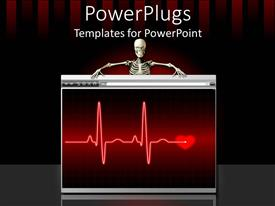 PowerPlugs: PowerPoint template with human skeleton holding a screen with cardio wave lines