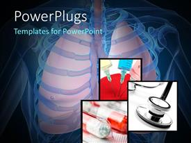 PowerPlugs: PowerPoint template with human skeleton with lungs, medicines, injection and stethoscope in background