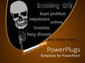 PowerPoint template displaying human skull and a lit cigarette with text of diseases