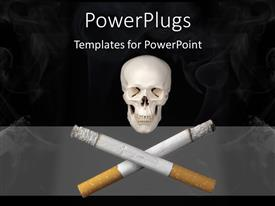 PowerPoint template displaying a human skull with two cigaretts on a black background