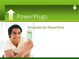 PowerPlugs: PowerPoint template with human smiling and staring at an open hand set