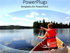 PowerPlugs: PowerPoint template with human wearing a life jacket on a boat rowing