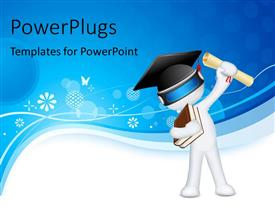 PowerPlugs: PowerPoint template with humanoid with books, graduation degree and graduation hat over white and blue background