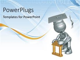 PowerPlugs: PowerPoint template with humanoid completed graduation, with binary codes and curves