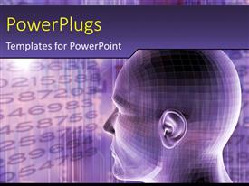 PowerPoint template displaying humanoid head on a digital futuristic background