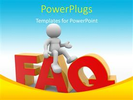 PowerPoint template displaying humanoid presenting FAQ concept with blue color