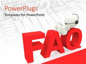 PowerPlugs: PowerPoint template with humanoid presenting FAQ concept with keywords