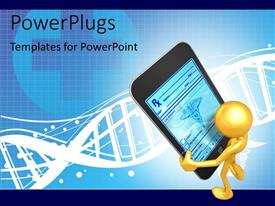 PowerPlugs: PowerPoint template with humanoid serching medical information on smart phone with medical symbol and DNA in background