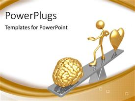 PowerPlugs: PowerPoint template with humanoid standing over weight scale balancing the heart and brain