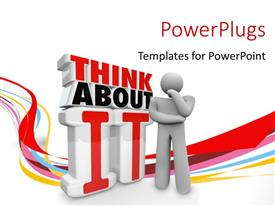 PowerPlugs: PowerPoint template with humanoid thinking about something, with curves