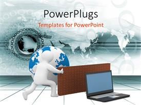 PowerPlugs: PowerPoint template with humanoid using firewall to protect global network with digital globe