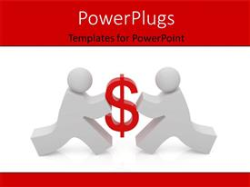 PowerPlugs: PowerPoint template with humanoids competing for money with white color