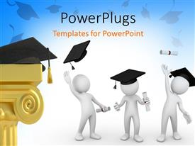 PowerPlugs: PowerPoint template with humanoids with graduation degree tossing graduation caps in air