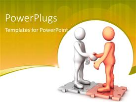 PowerPlugs: PowerPoint template with humanoids shaking hands, with brown color