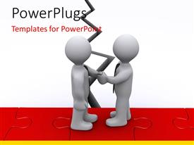 PowerPlugs: PowerPoint template with humanoids shaking hands with puzzle in the background