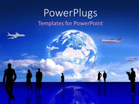 PowerPlugs: PowerPoint template with humans in different positions with a plain and globe above them