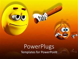 PowerPlugs: PowerPoint template with humorous and conceptual depiction about violence on orange background