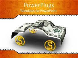 PowerPoint template displaying hundred dollar bill folded in car shape with gold dollar sign wheels
